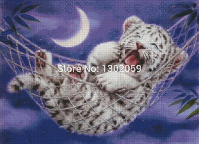 Available High Quality Embroidery Package Cross Stitch Kit Tiger Animal 18ct/16ct/14ct/11ct/9ct Wide Selection; Package