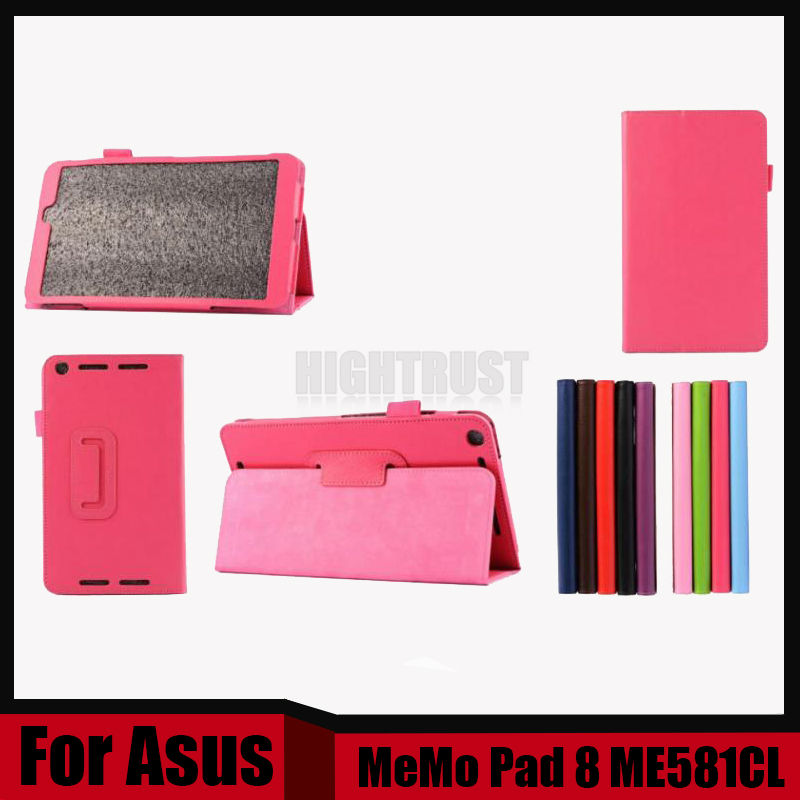 3 in 1 High Litchi Pu Leather Folio Stand Case Cover For ASUS MeMO Pad 8 ME581CL ME581C K01H Tablet PC + Stylus + Screen Film