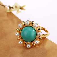 S925 sterling silver gilt Natural Inlaid pearl ring