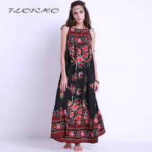 S-2XL 2017 Summer Casual Holiday Beach Sundress Women Sexy Flower Print Boho Spaghetti Strap Backless Long Maxi Dress Vestidos