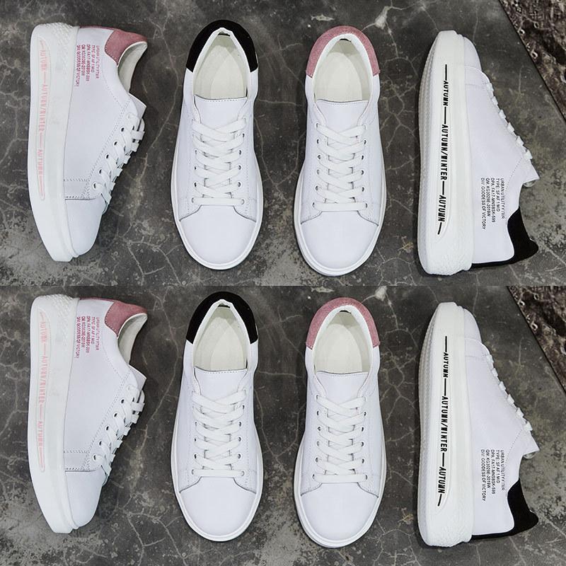 Jookrrix 2018 Autumn Fashion Quality Real Leather Lady Casual White Shoe Women Sneaker Leisure Heighten Platform Shoe Cross-tied