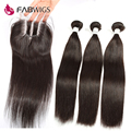 4pcs Lot Brazilian Virgin Hair Straight with Closure Grade 7A Brazilian Hair Bundles with Lace Closure Human Hair Weft Extension
