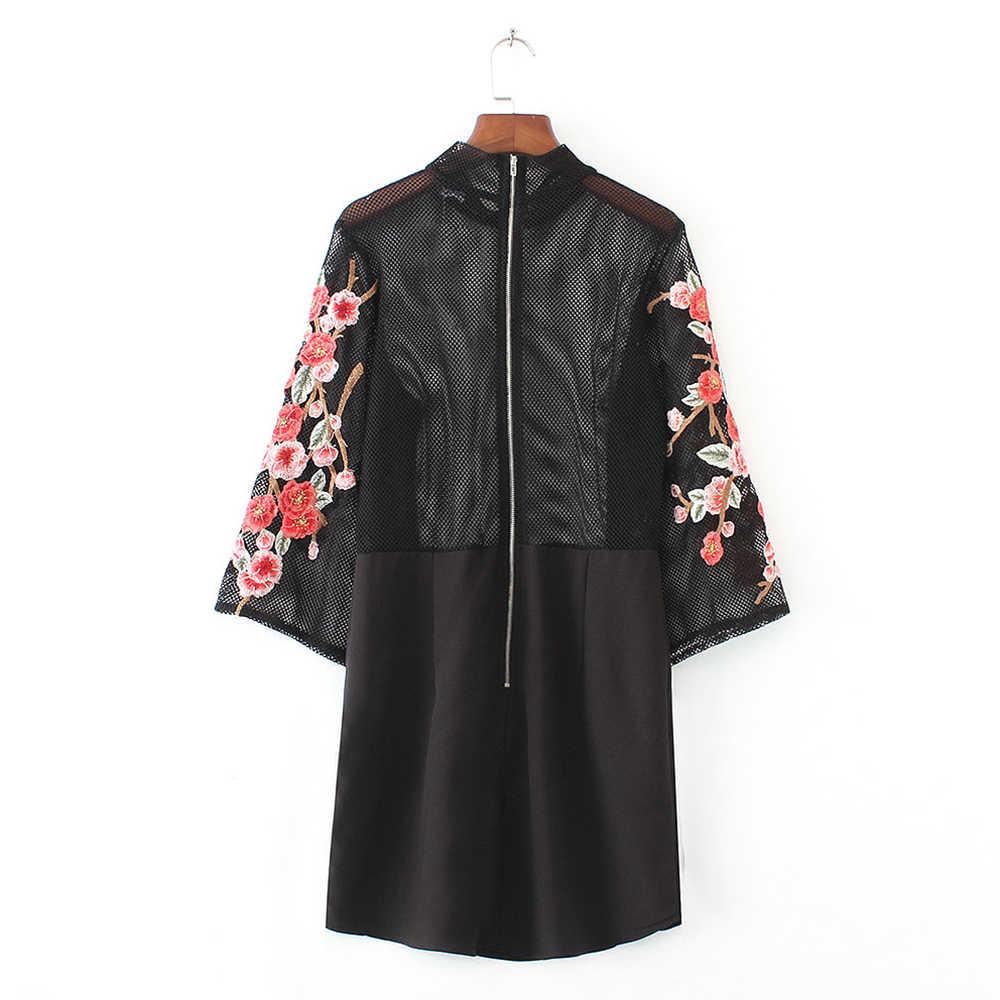 新しい刺繍長袖シャツ花ボタントップ 2018 春の女性のパーティーの摩耗ドレスエレガントなブラウスドレス