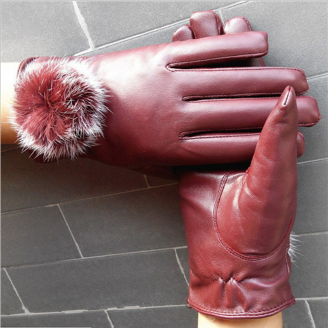 Womens Leather Gloves With Fur