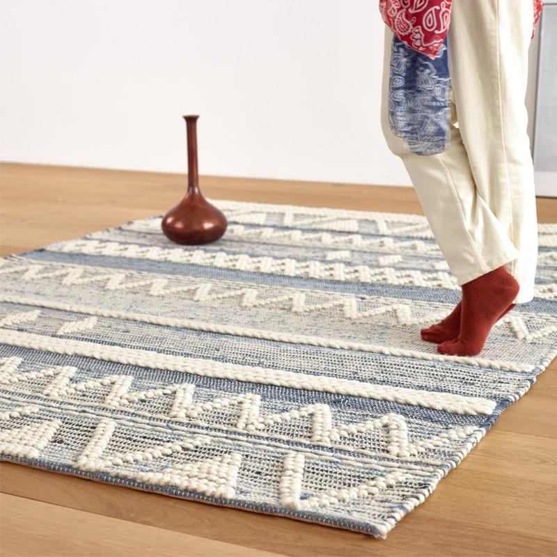 Denim tejido a mano alfombra de lana pura nuevo diseño sentido Visual blanco dormitorio sala de noche café flores TableHome alfombra