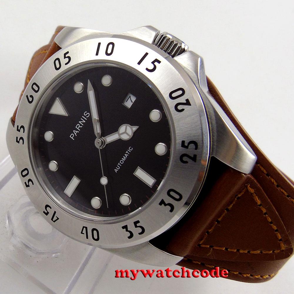 43mm Parnis black dial Sapphire Glass brown strap miyota Automatic mens Watch602 цена и фото