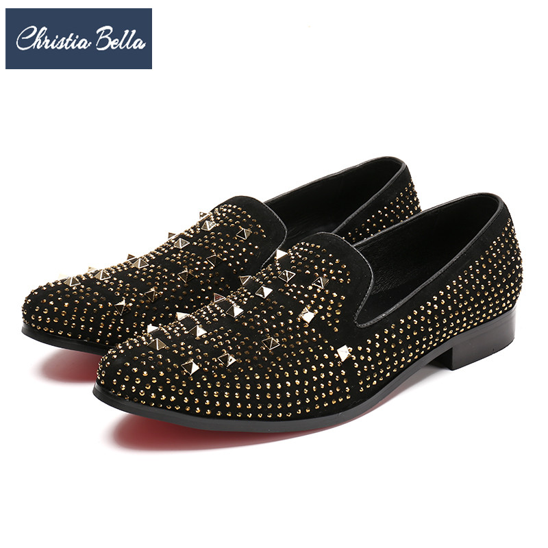 Christia Bella New Gold Rivet Rhinestones Men Loafers Luxury Party Banquet Dress Shoes Men Smoking Slippers Male Flats Slip On new black embroidery loafers men luxury velvet smoking slippers british mens casual boat shoes slip on flat shoes espadrilles
