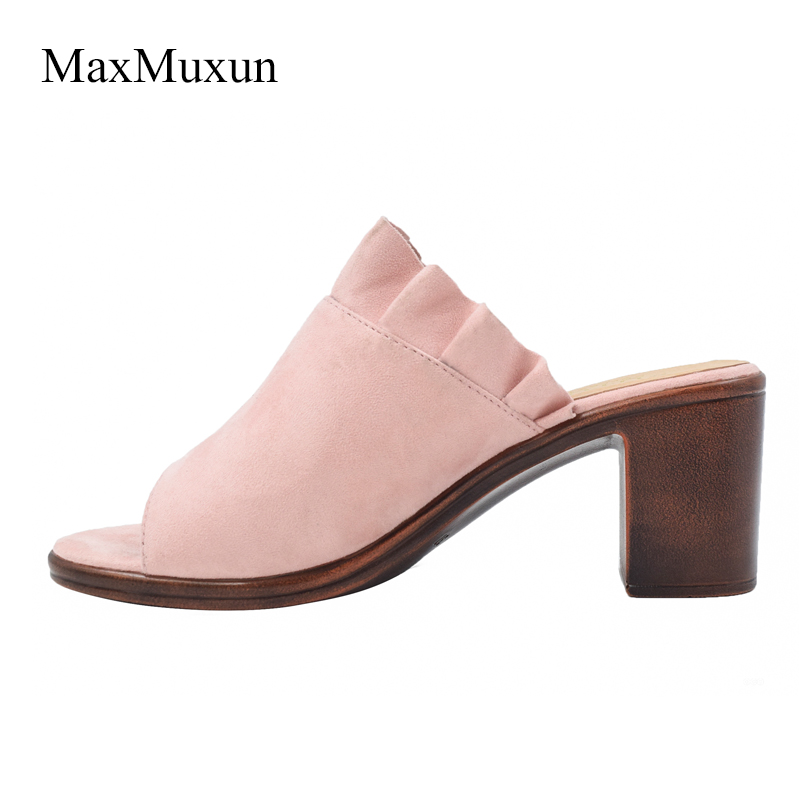 6b28b2d74396 MaxMuxun Heel Slippers Womens Summer Outdoor Beach Slippers Ladies Faux  Suede Sexy Open Toe Sandals Mid Block Heel Flip Flop -in Slippers from Shoes  on ...