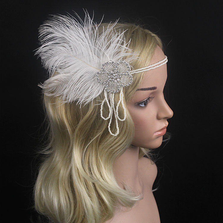 KMVEXO Crystal Chain Pearl Tassels White Feather 1920s Headpiece Flapper Great Gatsby He ...