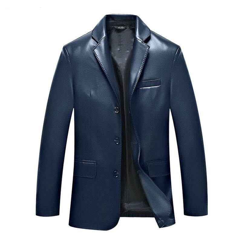 Spring The New Mens Fashion Design Simplicity Temperament Man Suit Collar Leather Jacket Men Mens Leather Jackets And Coats