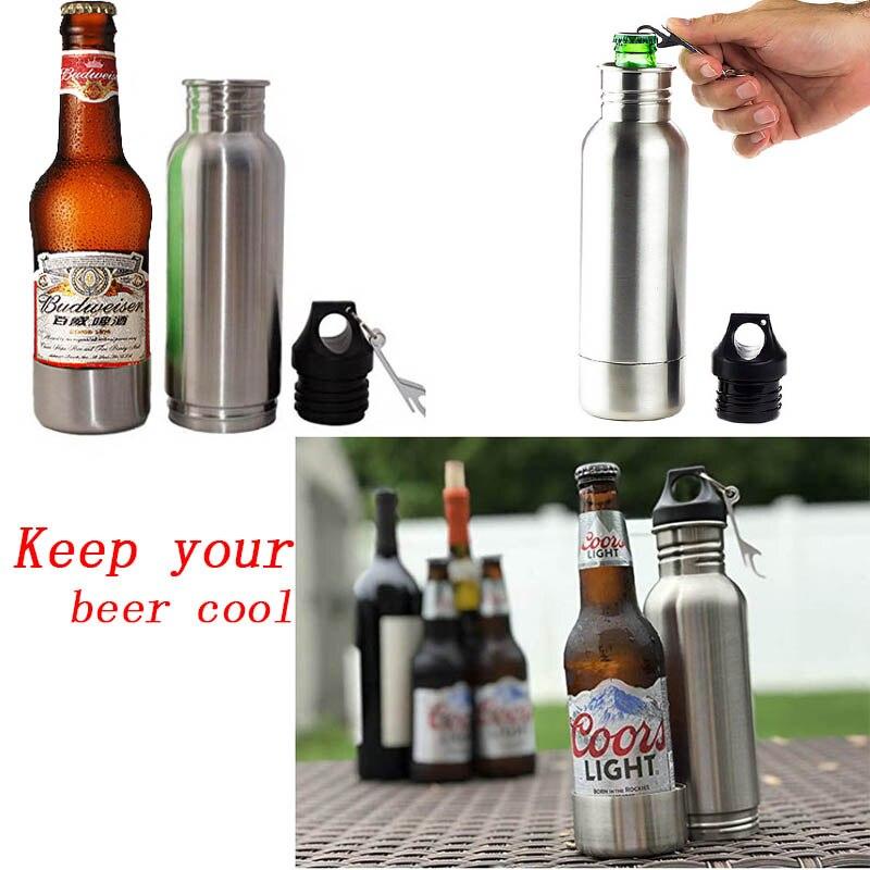 Edelstahl 12 unzen Bier Flaschen Kalt Isoliert Neopren Bier Reise Flasche Thermo Geschenke Thermo Kalten Bier Für Dropshipping