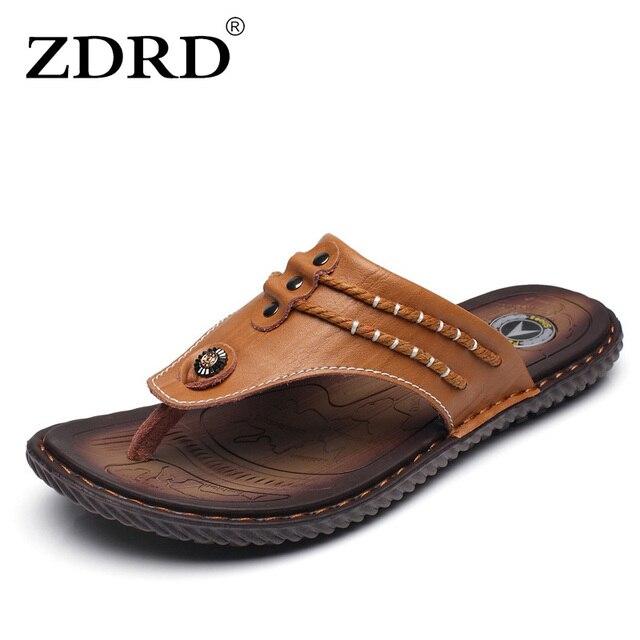 569ffc7b1e2 ZDRD New Men s Sandals Male Summer Designer Flip Flops Handmade Genuine Leather  Slippers Fashion Beach Sandals Home Slippers Men