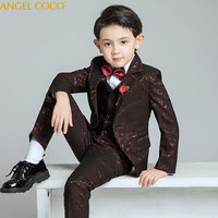 6PCS/SET Boys Suits Weddings Kids Prom Suits Red Wedding Suits Boys Tuexdo Big Children Clothes Set Boy Formal Classic Costume