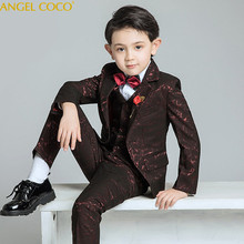 6PCS/SET Boys Suits Weddings Kids Prom Suits Red Wedding Suits Boys Tuexdo Big Children Clothes Set Boy Formal Classic Costume