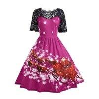 2019 mama style Christmas cartoon patchwork dresses lace vintage A Line short ankle length print fashion o neck dresses