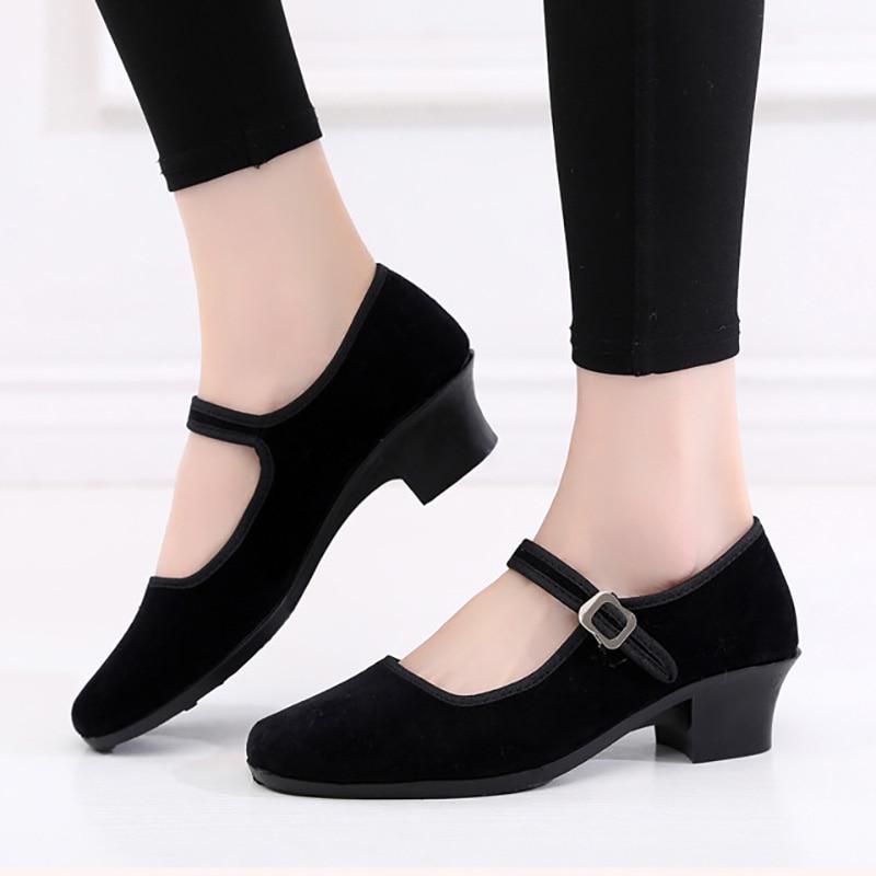 EU34-41 Black Flannel Outdoor Resistant Folk Fitness Yoga Teacher Latin Ballroom Ballet Dance Sneakers Shoes Woman Girls