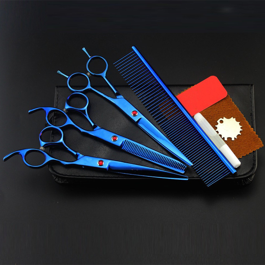 Professional 4 kit 8 inch blue pet grooming shears cutting hair scissors dog grooming thinning barber hairdressing scissors set 4 kit professional 8 inch pink pet grooming shears cutting hair scissors case dog grooming thinning barber hairdressing scissors