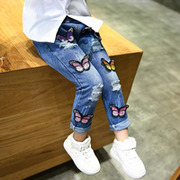 Baby girl jeans kids denim jeans 2018 spring autumn children pant butterfly ripped design trousers for toddler girl cartoon pant