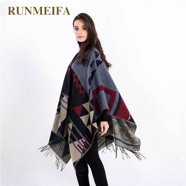 d52fff7a988 [RUNMEIFA] 2018 nieuw merk vrouwen winter deken vintage vrouwen dame  gebreide poncho sjaal kasjmier sjaal poncho cape