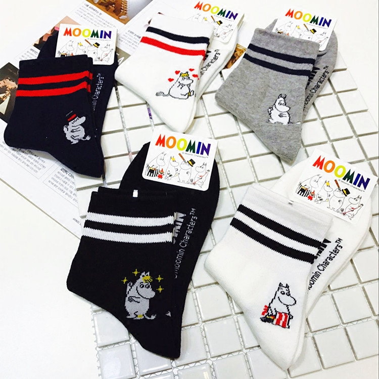 1pair Moomintroll Women Middle Tube Cartoon Hippo Mummy Popsocket New Arrival Christmas Gift Socks image