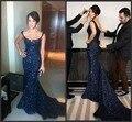 Vindima Vestido Formal Do Partido Espartilho Mermiad Querida Pavimento Length Kate Ritchie Paetês Azul Marinho Vestidos de Noite Vestido de Celebridade