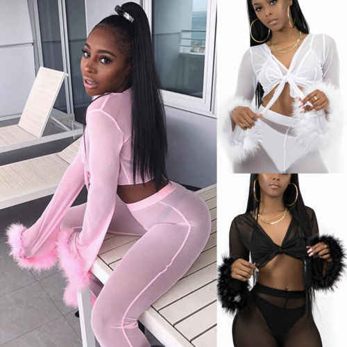 New Sexy Women Mesh See Through Nightdress Sleepwear Lingerie Bathrobes Long Gown Kimono Robe Feather Cover Up Crop Long Pant