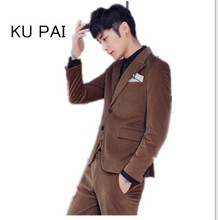 Autumn and winter gold velvet vogue go well with males's three-piece Korean model of Slim small go well with male corduroy go well with tide