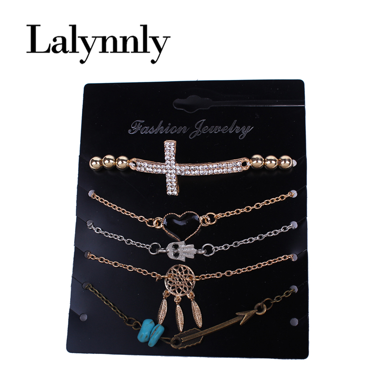 Lalynnly 5pcs/set Vintage Gold Chain Bracelet Bangles Rhinestone Cross Bracelet Heart Bracelets for Women Jewelry B08101