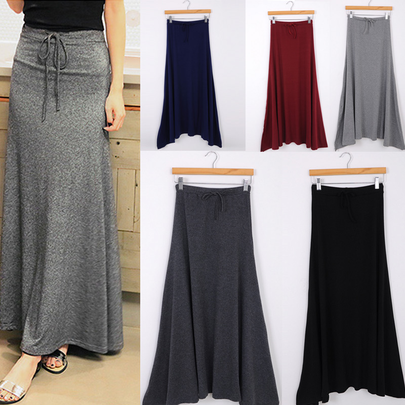 Sexy Women Side Split Maxi Skirt Summer Style Slim Fit Casual Long Elastic Drawstring Skirts H9
