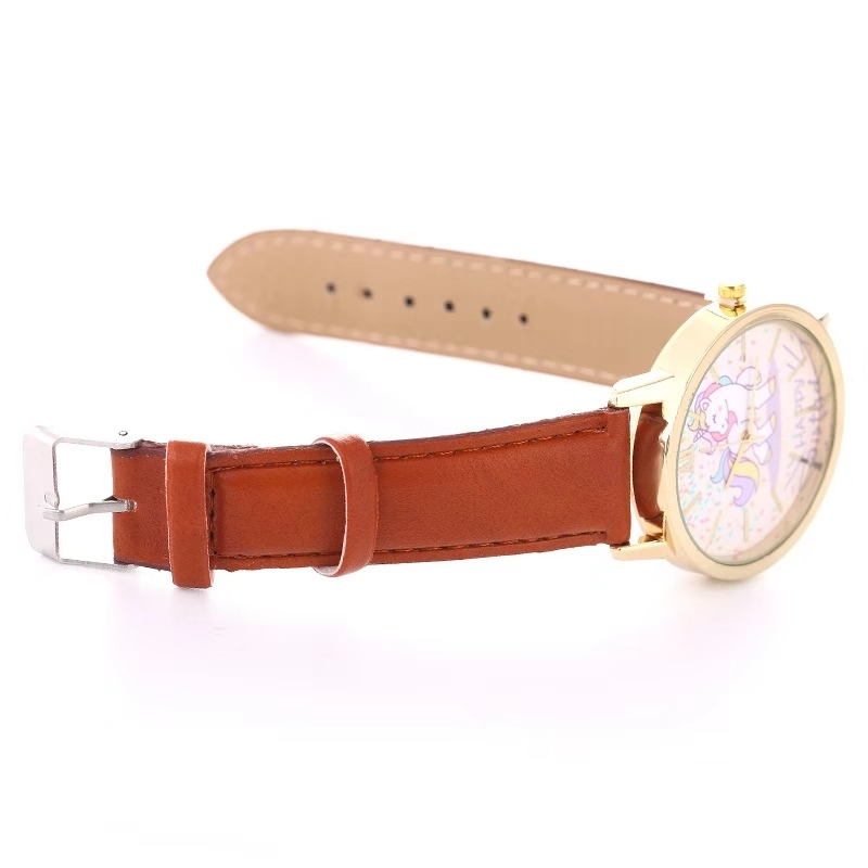 Fashion hot sale men's and women's children's watches unicorn leather with quartz watches kids watch
