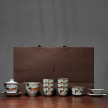 PINNY Kiln Retro Porcelain Kung Fu Tea Set Hand Painted Ceramic Teaware Sets High Quality China Pigmented Gaiwan