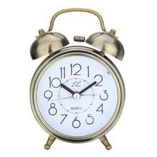 ac65d5638a8 Relógios de Ponteiro Retro Silencioso Duplo Sino do Relógio Despertador  Loud Cabeceira Night Light Início Decorações