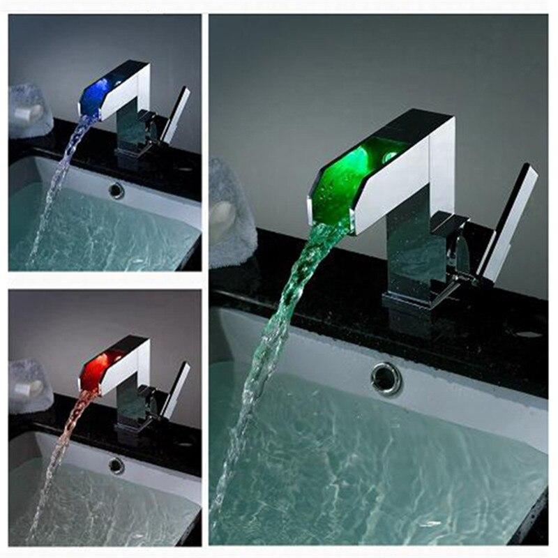 Роскошные Self-Мощность Освещенные Смеситель одно отверстие Одной ручкой Водопад кран, Ванная комната кран ld8005-08a