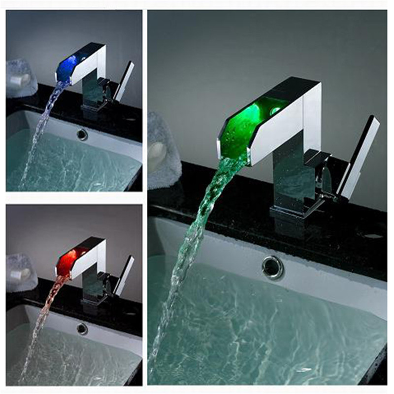 Luxury Self-power  Lighted Basin Faucet Single Hole Single Handle Waterfall Faucet,Bathroom Faucet LD8005-08A