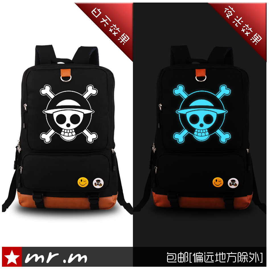 Japanese Anime One Piece Backpack Luffy Unisex Shoulders Bag Fashion Canvas Fluorescent Schoolbag Travelling Bag original brand japanese anime pen bag unisex students fashion pen boxes