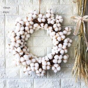Image 2 - Couronne de fleurs sèches en coton vraies, décoration pour couronne de noël en rotin faite main, pour fêtes, Festival, mariage, pour maison, D19 pouces