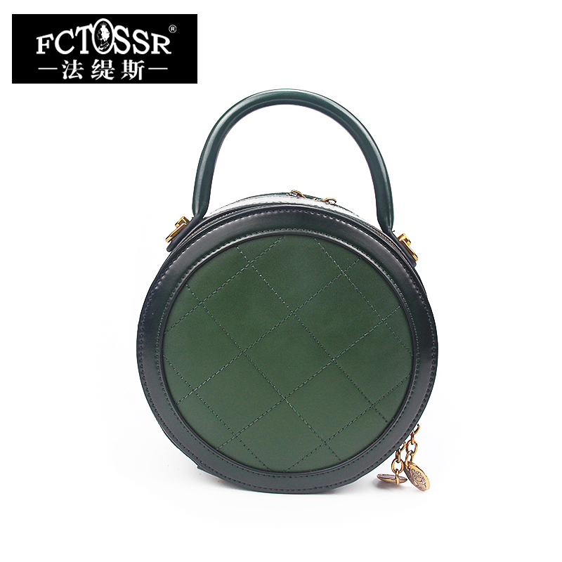 Round Rivet Women's Handbags Genuine Leather Shoulder Bags Handmade Small Messenger Bags Ladies Stylish Hand Bags Cowhide Bag women genuine leather handbags ladies personality new head layer cowhide shoulder messenger bags hand rub color female handbags