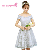Lace Light Grey Sexy Short Boat Neck Corset Brides Maids Lace Dresses Bridesmaid Party Ball Gowns