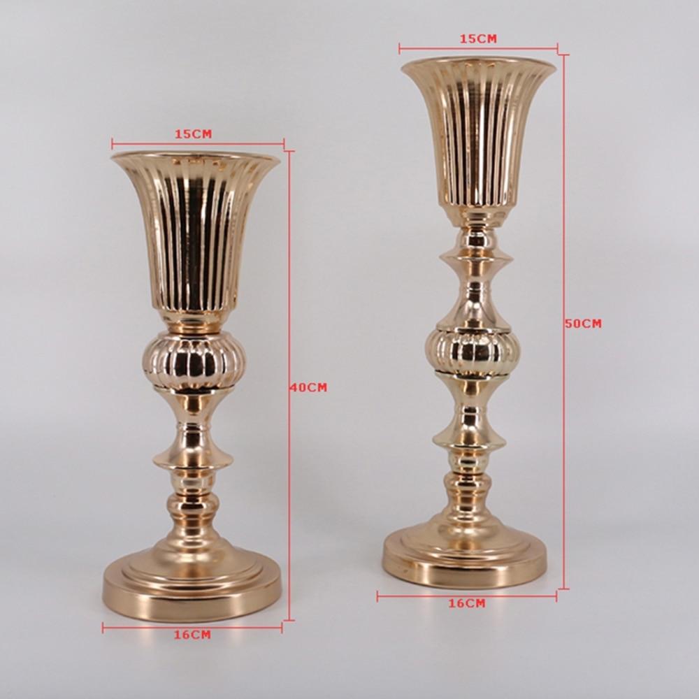 Gold Tabletop Vase Metal Flower Road Lead Wedding Table Centerpiece ...