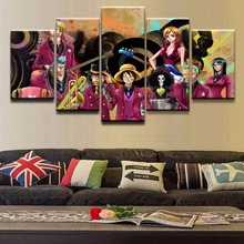 Canvas Painting Living Room Wall Poster Frames 5 Panel Anime One Piece Character Modular Printed  Decorative Art Print Picture