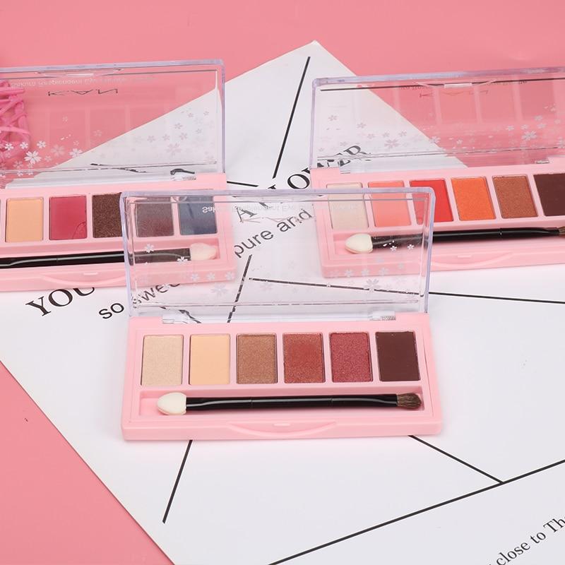 k a n marca 6 cores sombra de olho maquiagem shimmer matte paleta de sombra cosmeticos