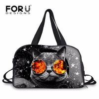 FORUDESIGNS Cute Printing Galaxy Cat Women Luggage Travel Bag Large Capacity Handbags Duffle Bags Cute Canvas
