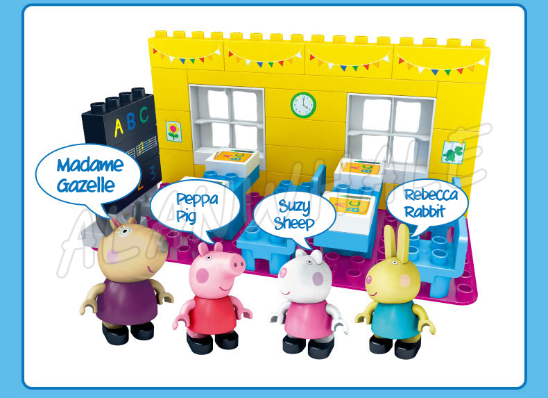 37pcs Madame Gazelle School Classroom Lesson Peppa Pig Model Building Action Figures Assemble Toys Compatible With lego Duplo