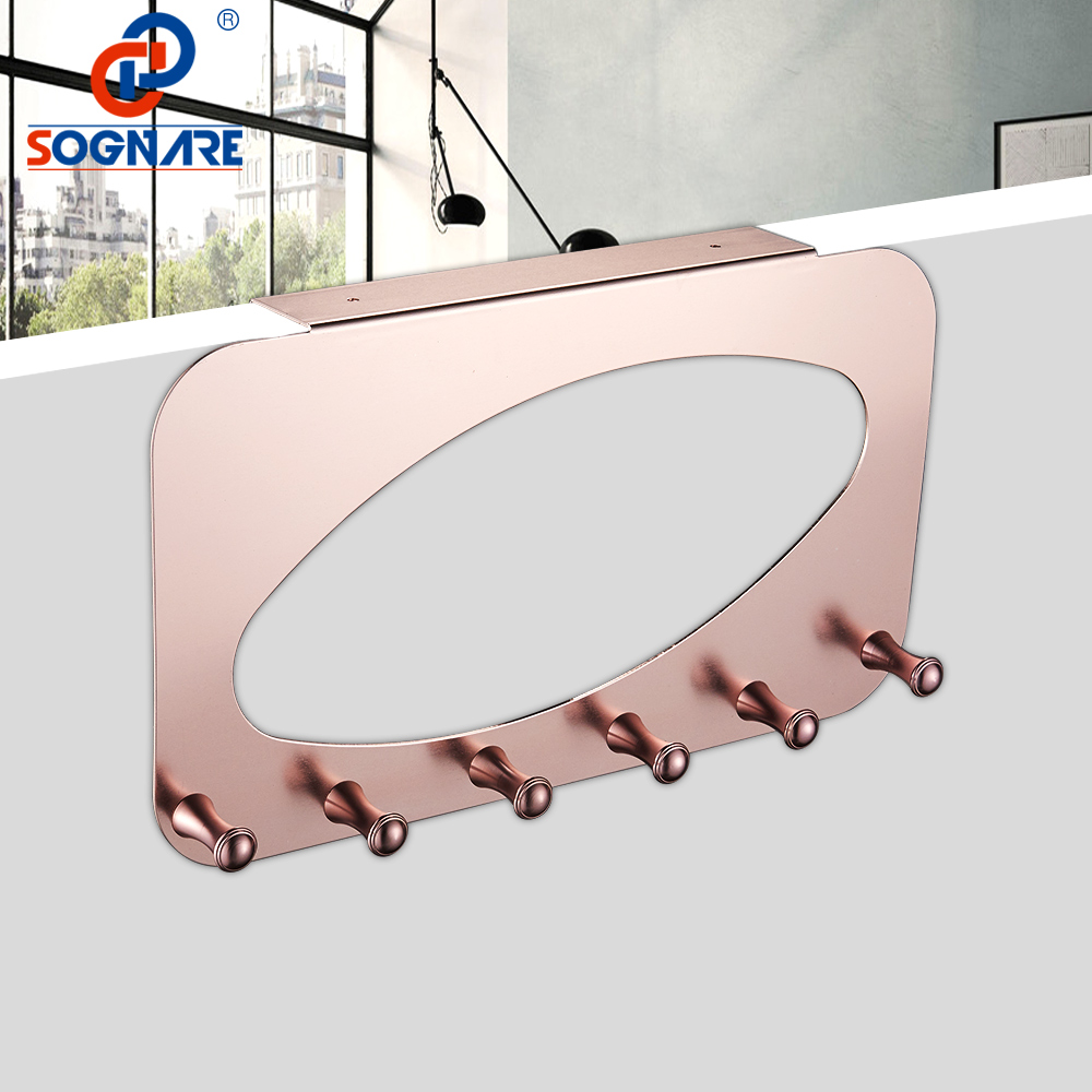 SOGNARE Bathroom Accessories Coat Clothes Hooks Rose Gold Door Hooks Hanger Rack Bathroom Kitchen Hanger Hooks With 5-Hook 118R 500pcs pack removable suction cup sucker wall window bathroom kitchen hanger hooks