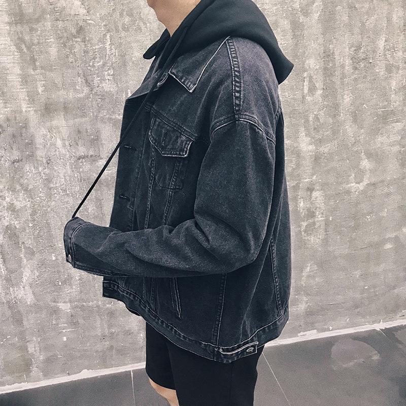 a471cd66694 LEDINGSEN Mens Blue Oversize Denim Jacket Black Hooded Baggy Jeans ...