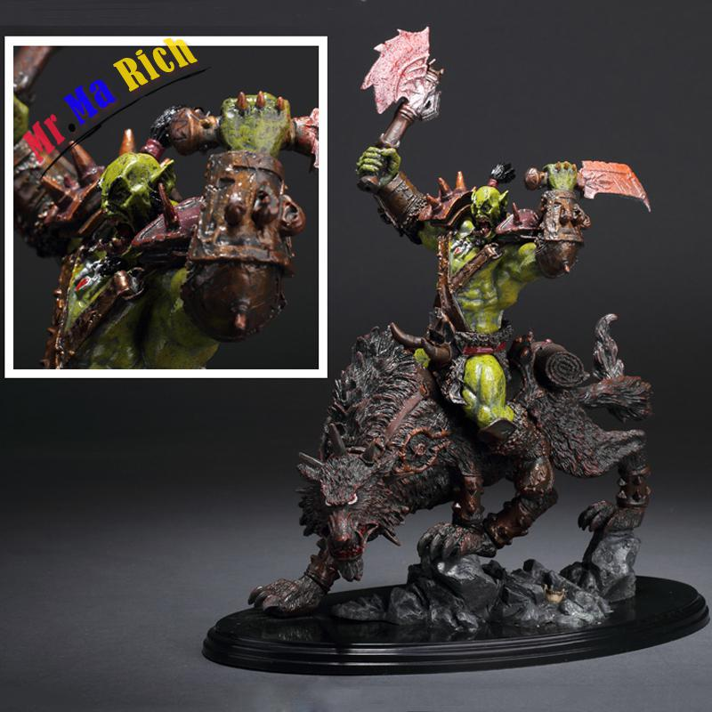 Online Game Wow Orc Warrior Wolf Rider (riding Wolf) Statue Figure 24cm Cool Collectible Toy Gift wow world of orc statue figure high quality wolf rider 10 toy collectibles model doll 275