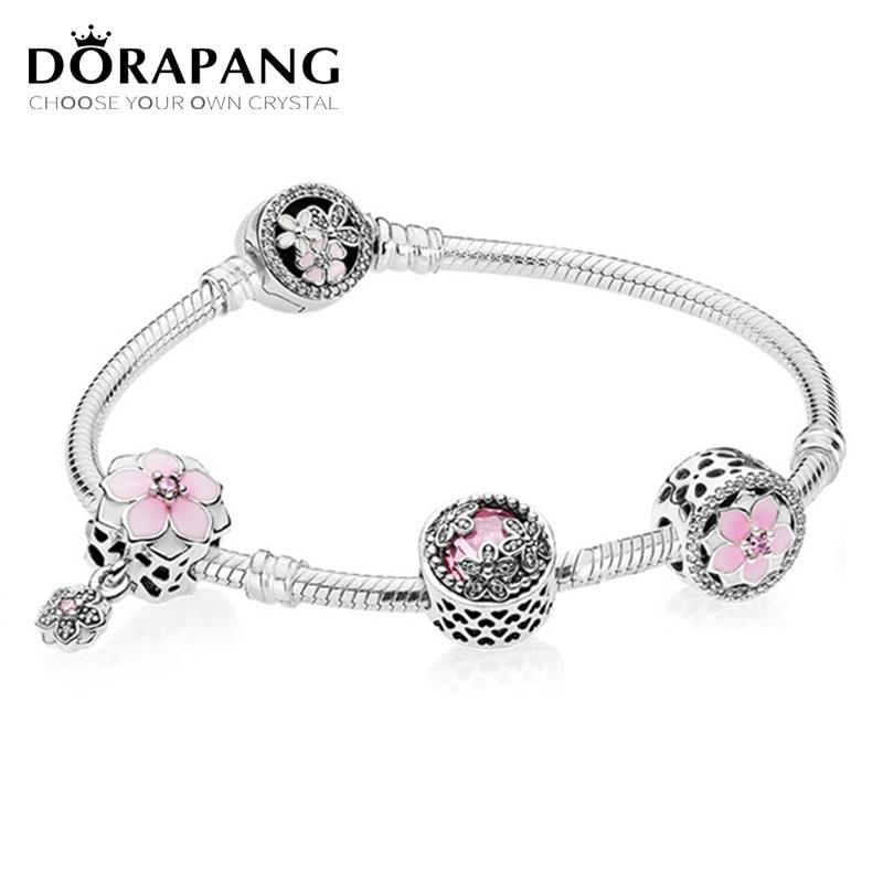 DORAPANG Genuine 100% 925 Sterling Silver Bracelet Set For Europe Women Spring flowers Original birthday Gift DIY Charm Jewelry dorapang 100