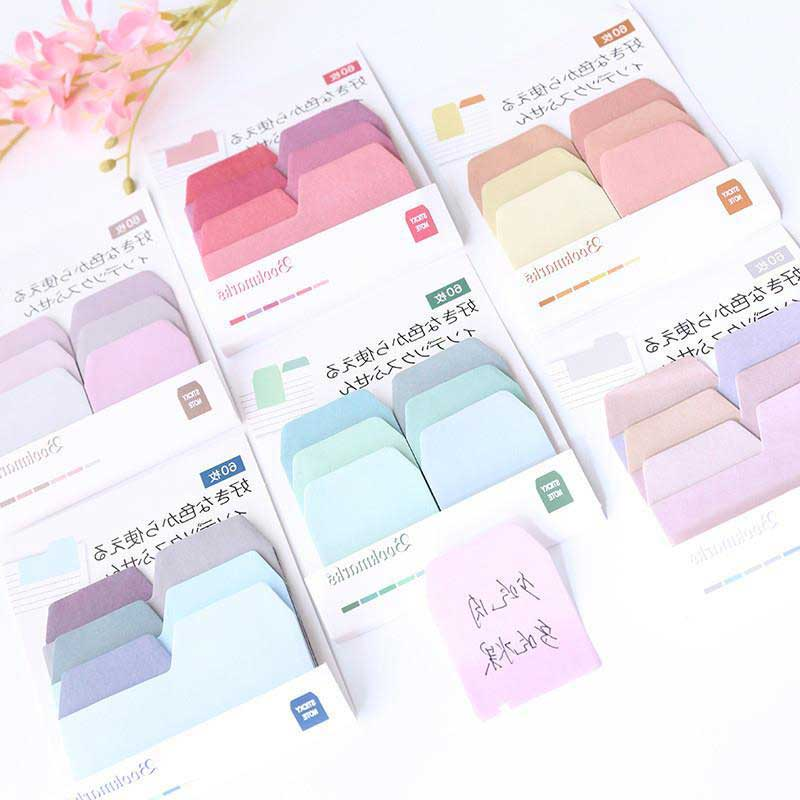 60 Sheets/pack Gradient Memo Sticker Sticky Note Creative Self-Adhesive N Times Indexes Memo Pad Label Sticker Office Supplies