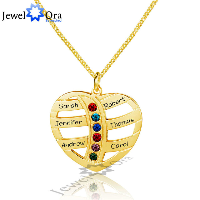 Friendship Gift DIY Birthstone Engrave Necklace Personalized 925 Sterling Silver Heart Shape Name Necklace (JewelOra NE101599)