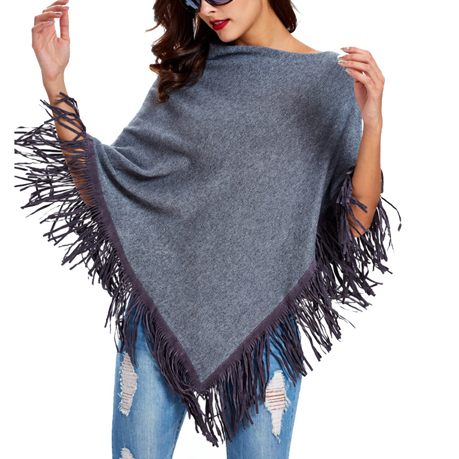 2018 Winter Solid Women 'S Tassels Poncho Shawls Warm   Scarves   &  Wraps   Knitting Christmas Gift Suede Tassels 7 Colors